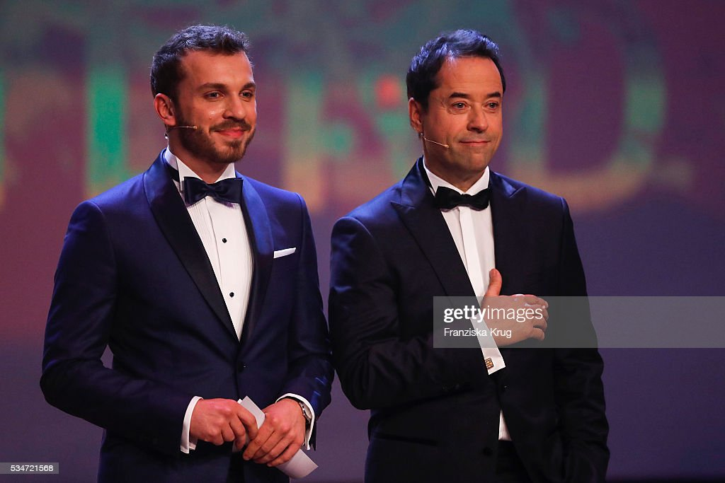 Edin Hasanovic and Josef Liefers (both wearing Jaeger-LeCoultre watch) during the Lola - German Film Award (Deutscher Filmpreis) 2016 - Show on May 27, 2016 in Berlin, Germany.