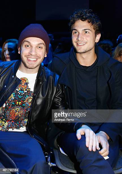 Edin Hasanovic and Samuel Schneider attend the Kilian Kerner show during the MercedesBenz Fashion Week Berlin Autumn/Winter 2015/16 at Kosmos on...