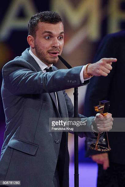 Edin Hasanovic wins the awards for Best Young Actor during the Goldene Kamera 2016 show on February 6 2016 in Hamburg Germany