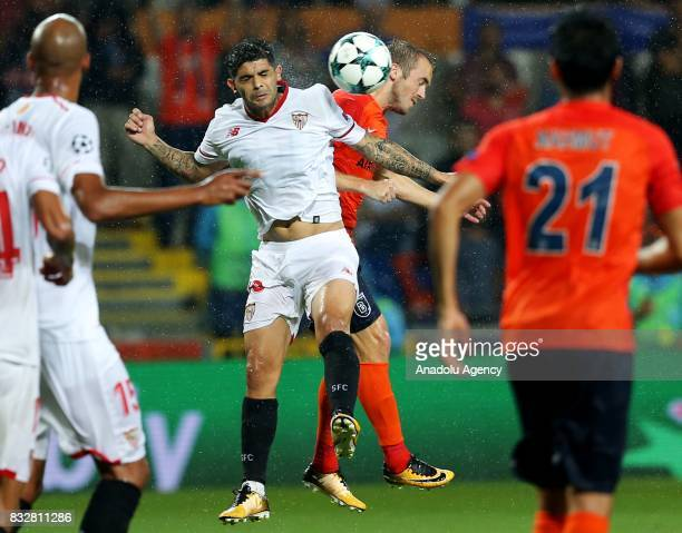 Edin Visca of Medipol Basaksehir in action during the UEFA Champions League playoff match between Medipol Basaksehir and Sevilla FC at Basaksehir...