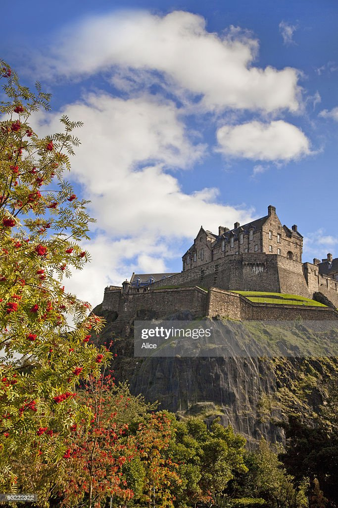 Edinburgh Castle from Princes Street Gardens : Stock Photo