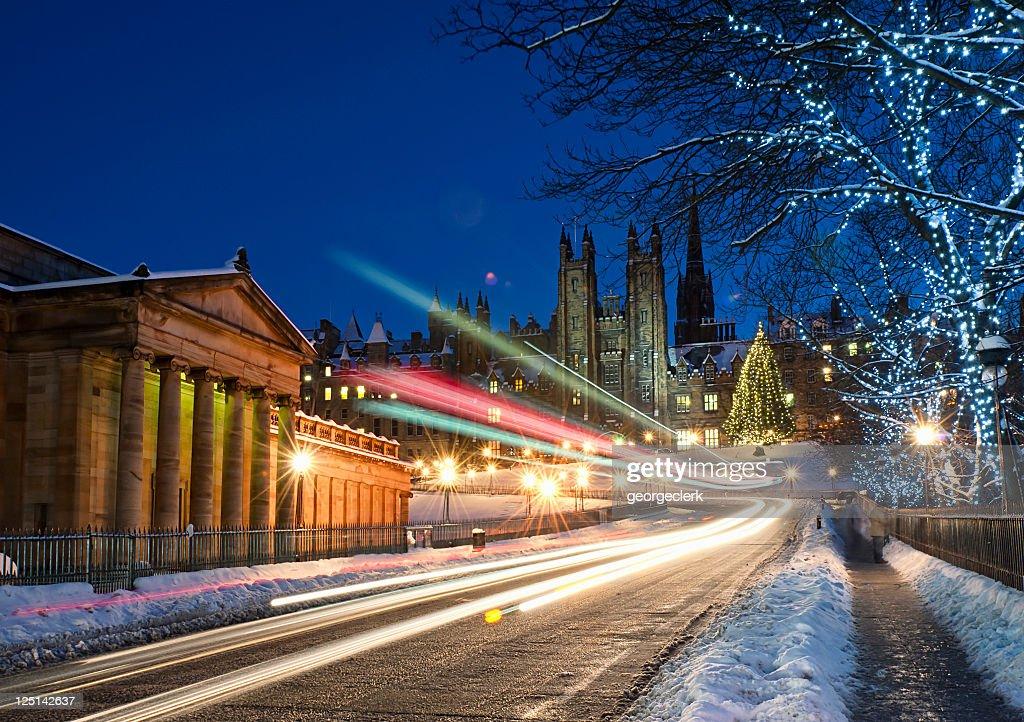 Edinburgh in December Snow : Stock Photo