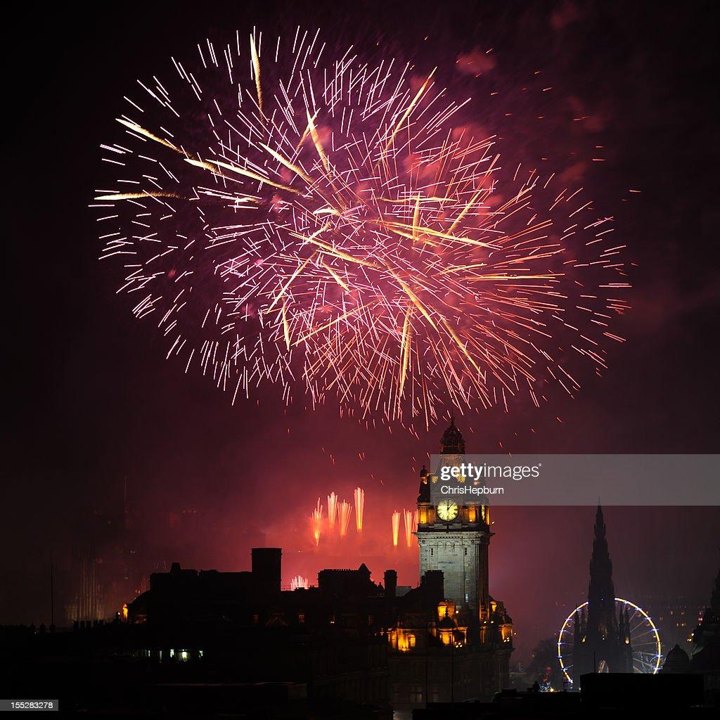 Edinburgh New Year's Fireworks : Stock Photo