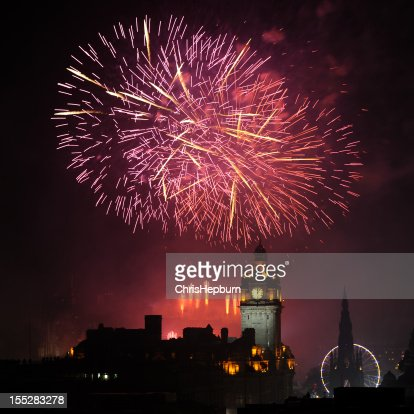Edinburgh New Year's Fireworks : Stock Photo