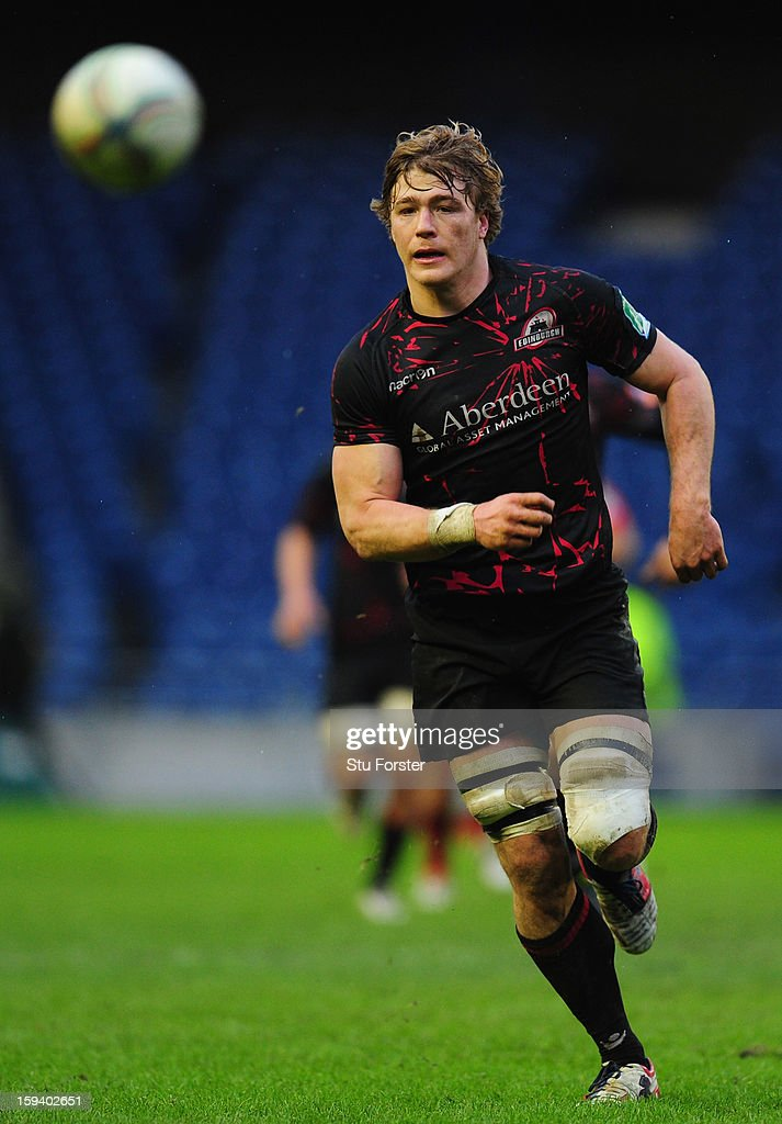 Edinburgh player David Denton in action during the Heineken Cup Round 5 match between Edinburgh and Munster at Murrayfield Stadium on January 13, 2013 in Edinburgh, Scotland.