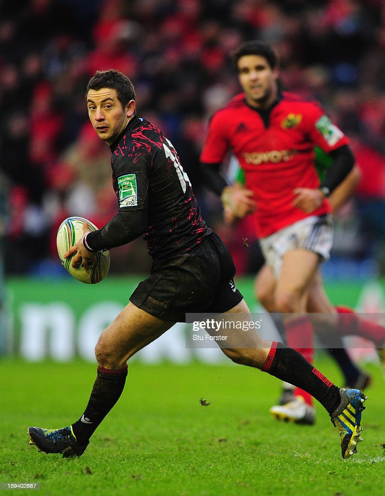 Edinburgh player Greig Laidlaw in action during the Heineken Cup Round 5 match between Edinburgh and Munster at Murrayfield Stadium on January 13, 2013 in Edinburgh, Scotland.