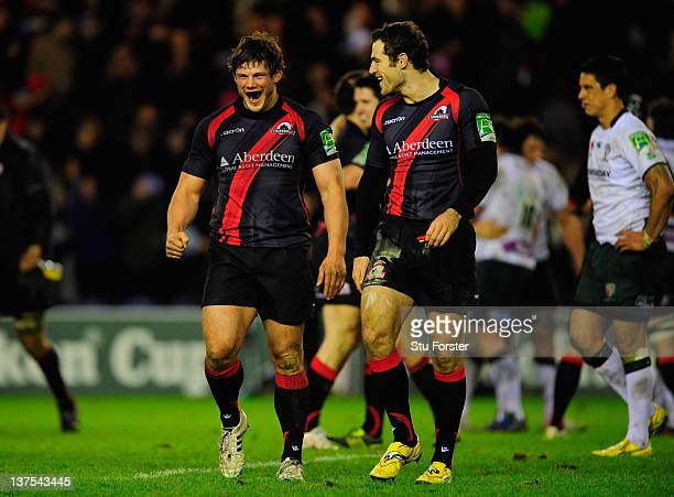 Edinburgh Rugby wing Tim Visser and Ross Ford celebrate on the final whistle after the Pool two match between Edinburgh Rugby and London Irish at...