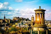 Edinburgh skyline as seen from Calton Hill Edinburgh Dugald Stewart monument with Edinburgh Castle on background