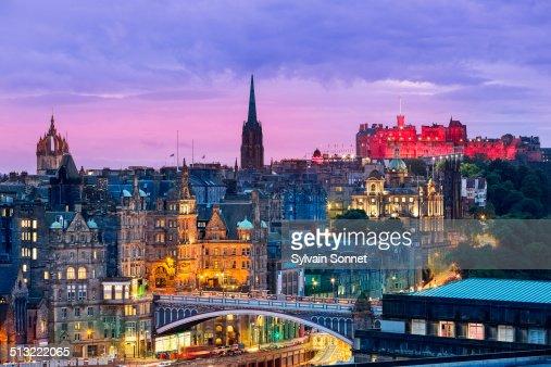 Edinburgh skyline from Calton Hill at dusk