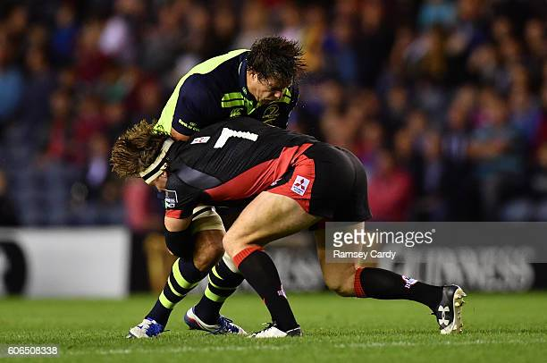 Edinburgh United Kingdom 16 September 2016 Mike McCarthy of Leinster is tackled by Hamish Watson of Edinburgh during the Guinness PRO12 Round 3 match...