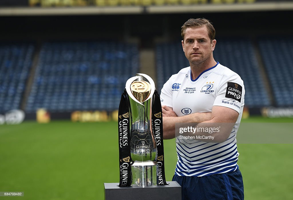Edinburgh , United Kingdom - 27 May 2016; Leinster captain <a gi-track='captionPersonalityLinkClicked' href=/galleries/search?phrase=Jamie+Heaslip&family=editorial&specificpeople=171469 ng-click='$event.stopPropagation()'>Jamie Heaslip</a> ahead of the Guinness PRO12 Final between Leinster and Connacht at BT Murrayfield Stadium in Edinburgh, Scotland.