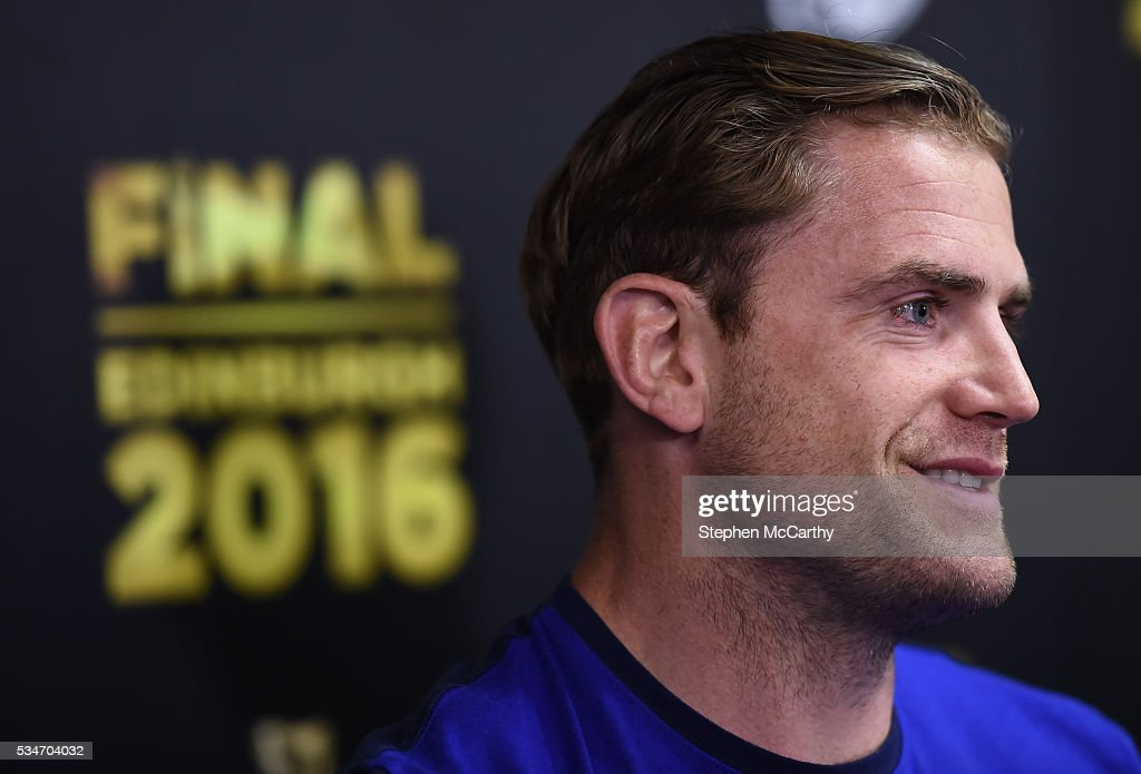 Edinburgh , United Kingdom - 27 May 2016; Leinster captain Jamie Heaslip during a press conference ahead of the Guinness PRO12 Final between Leinster and Connacht at BT Murrayfield Stadium in Edinburgh, Scotland.