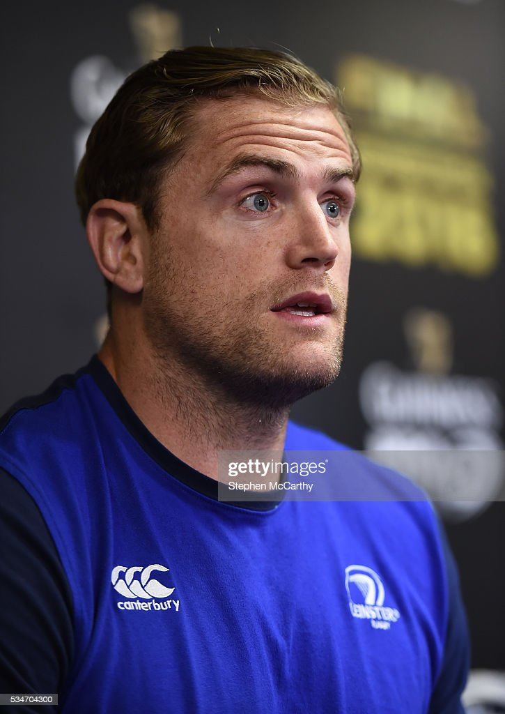 Edinburgh , United Kingdom - 27 May 2016; Leinster captain <a gi-track='captionPersonalityLinkClicked' href=/galleries/search?phrase=Jamie+Heaslip&family=editorial&specificpeople=171469 ng-click='$event.stopPropagation()'>Jamie Heaslip</a> during a press conference ahead of the Guinness PRO12 Final between Leinster and Connacht at BT Murrayfield Stadium in Edinburgh, Scotland.