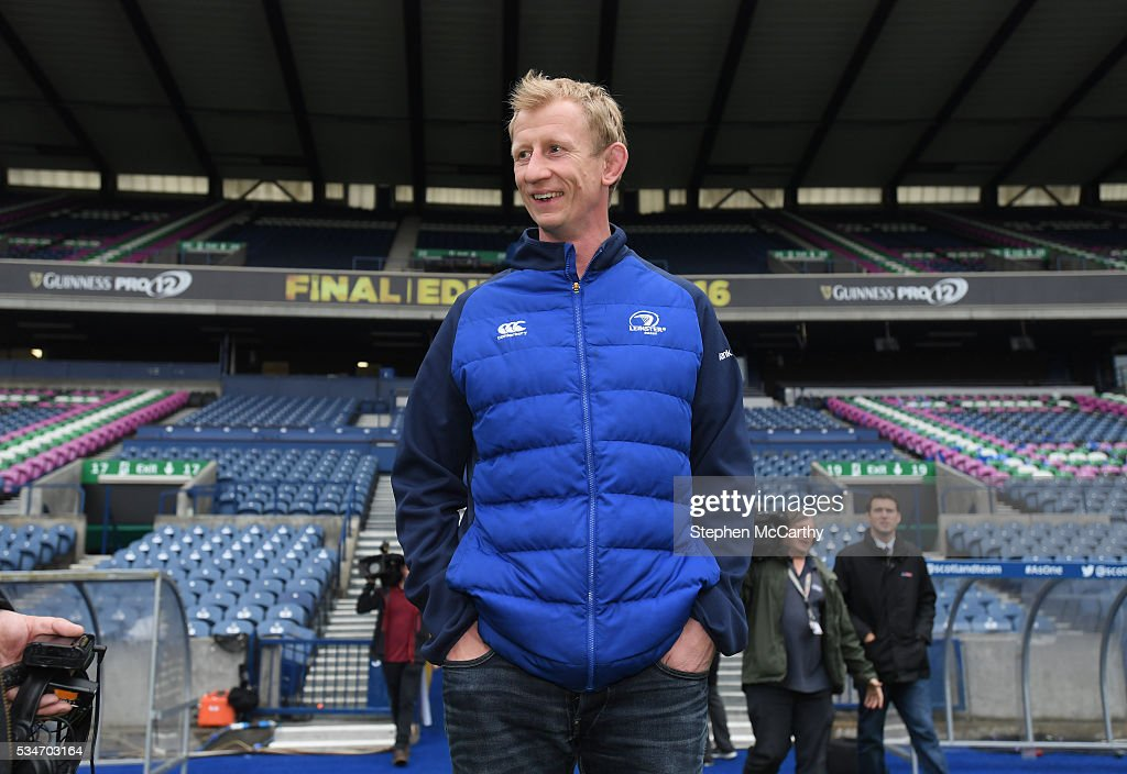 Edinburgh , United Kingdom - 27 May 2016; Leinster head coach <a gi-track='captionPersonalityLinkClicked' href=/galleries/search?phrase=Leo+Cullen+-+Giocatore+di+rugby&family=editorial&specificpeople=4515972 ng-click='$event.stopPropagation()'>Leo Cullen</a> ahead of the Guinness PRO12 Final between Leinster and Connacht at BT Murrayfield Stadium in Edinburgh, Scotland.