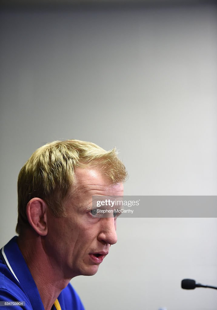 Edinburgh , United Kingdom - 27 May 2016; Leinster head coach <a gi-track='captionPersonalityLinkClicked' href=/galleries/search?phrase=Leo+Cullen+-+Rugby+Player&family=editorial&specificpeople=4515972 ng-click='$event.stopPropagation()'>Leo Cullen</a> during a press conference ahead of the Guinness PRO12 Final between Leinster and Connacht at BT Murrayfield Stadium in Edinburgh, Scotland.