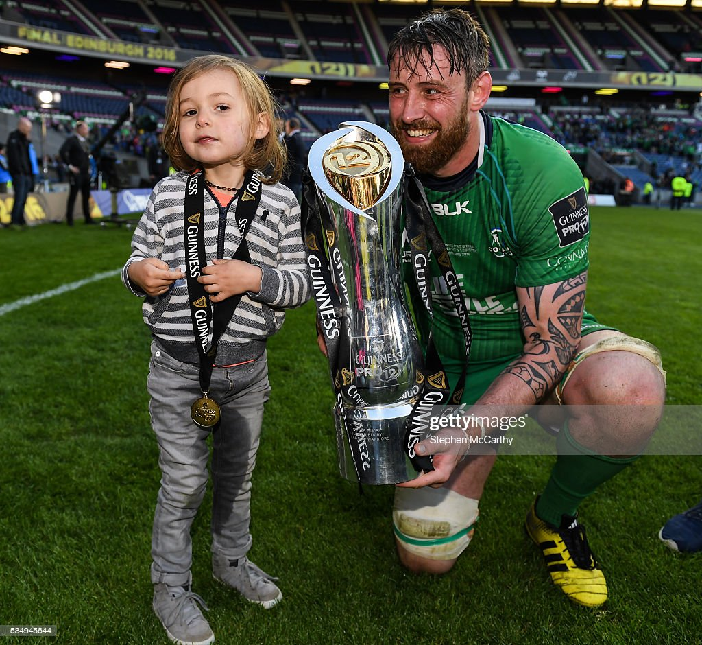 Edinburgh , United Kingdom - 28 May 2016; Aly Muldowney of Connacht and his son Arlan during the Guinness PRO12 Final match between Leinster and Connacht at BT Murrayfield Stadium in Edinburgh, Scotland.