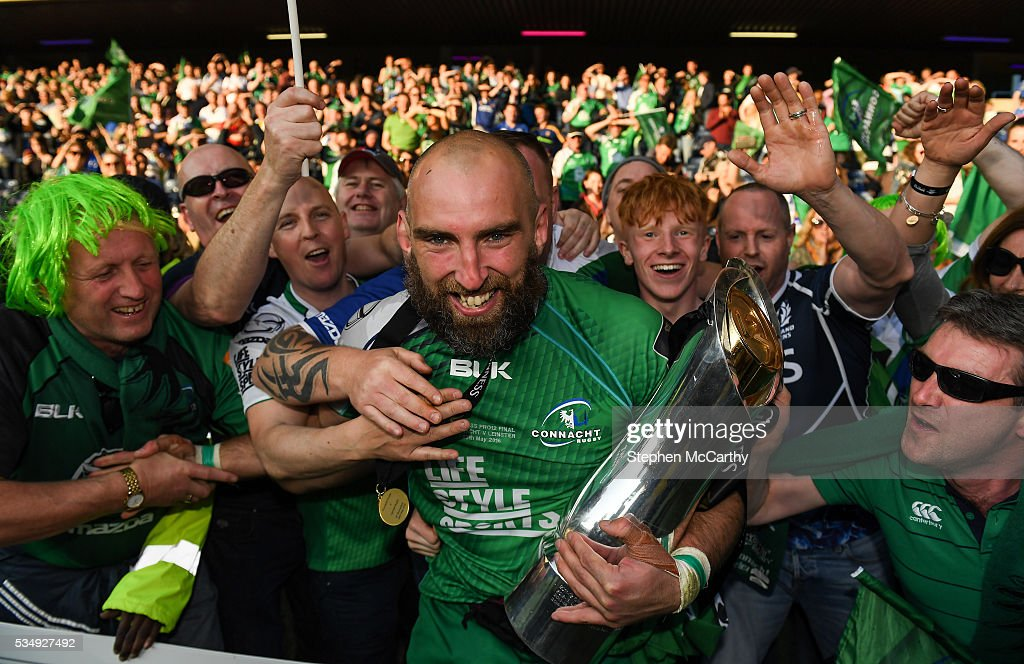 Edinburgh , United Kingdom - 28 May 2016; Connacht captain John Muldoon celebrates with the trophy following his side's victory in the Guinness PRO12 Final match between Leinster and Connacht at BT Murrayfield Stadium in Edinburgh, Scotland.