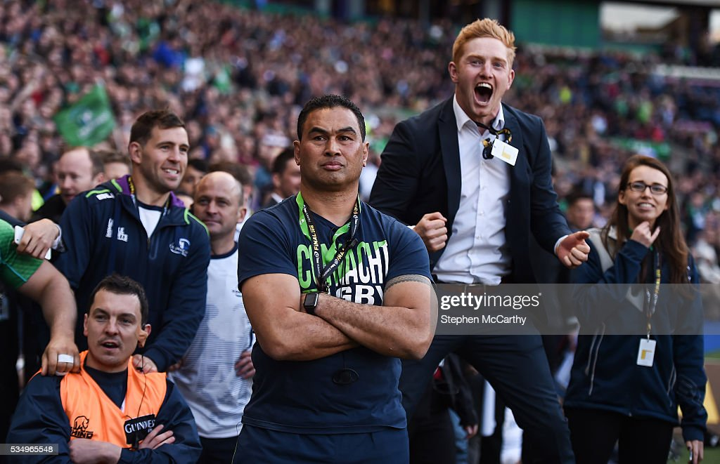 Edinburgh , United Kingdom - 28 May 2016; Connacht head coach <a gi-track='captionPersonalityLinkClicked' href=/galleries/search?phrase=Pat+Lam&family=editorial&specificpeople=1046701 ng-click='$event.stopPropagation()'>Pat Lam</a> watches the closing stages of the game as Darragh Leader celebrates during the Guinness PRO12 Final match between Leinster and Connacht at BT Murrayfield Stadium in Edinburgh, Scotland.