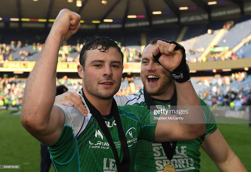 Edinburgh , United Kingdom - 28 May 2016; Connacht's <a gi-track='captionPersonalityLinkClicked' href=/galleries/search?phrase=Robbie+Henshaw&family=editorial&specificpeople=10060659 ng-click='$event.stopPropagation()'>Robbie Henshaw</a>, left, and Eoin McKeon celebrate following the Guinness PRO12 Final match between Leinster and Connacht at BT Murrayfield Stadium in Edinburgh, Scotland.