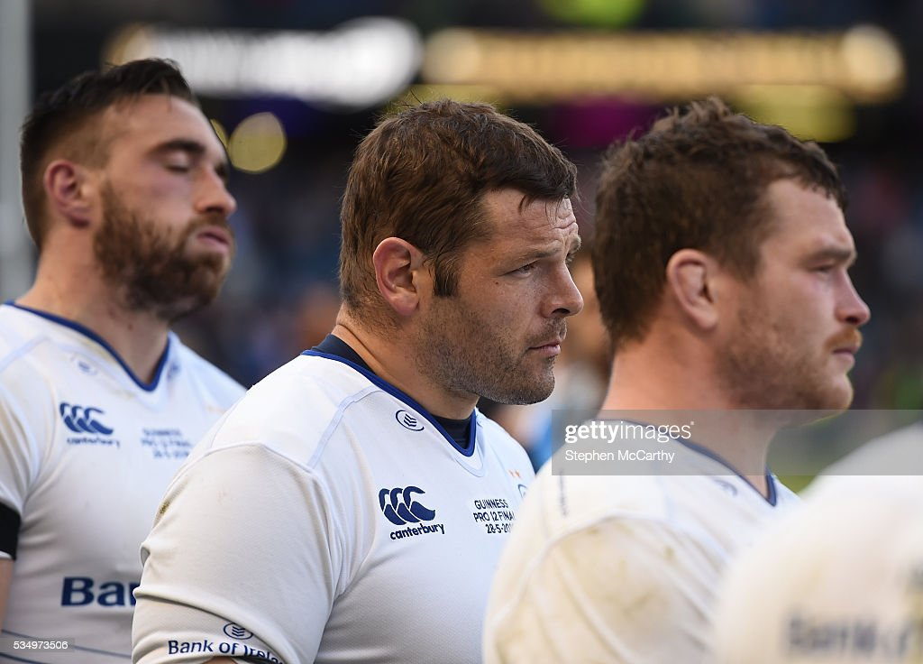 Edinburgh , United Kingdom - 28 May 2016; Dejected Leinster players, from left, Jack Conan, <a gi-track='captionPersonalityLinkClicked' href=/galleries/search?phrase=Mike+Ross+-+Jugador+de+rugby&family=editorial&specificpeople=15028941 ng-click='$event.stopPropagation()'>Mike Ross</a> and Jack McGrath following the Guinness PRO12 Final match between Leinster and Connacht at BT Murrayfield Stadium in Edinburgh, Scotland.
