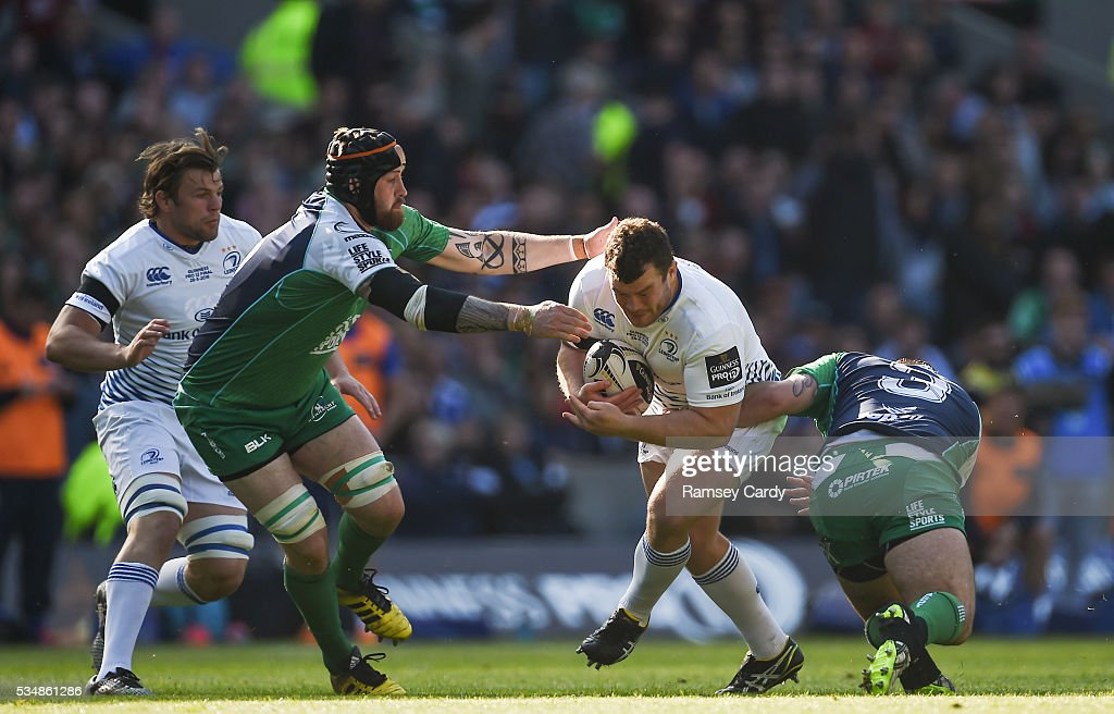 Edinburgh , United Kingdom - 28 May 2016; Jack McGrath of Leinster is tackled by Aly Muldowney, left, and Finlay Bealham of Connacht during the Guinness PRO12 Final match between Leinster and Connacht at BT Murrayfield Stadium in Edinburgh, Scotland.