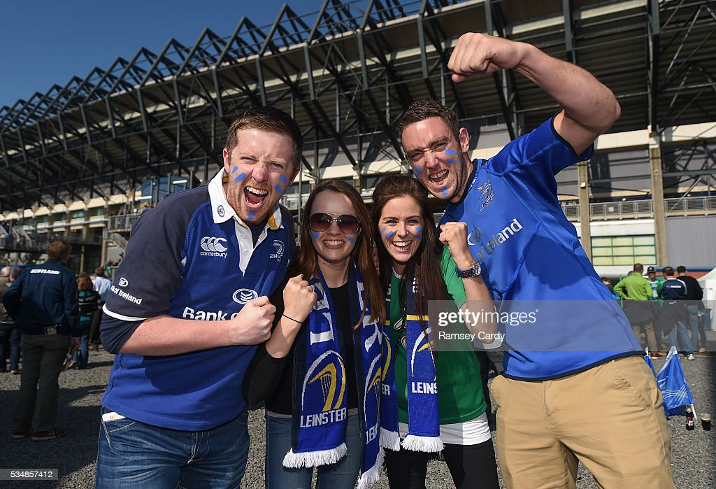 Edinburgh , United Kingdom - 28 May 2016; Leinster supporters, from left, Paul Kelly, Joanne Glazier, Lisa Kelly and Glenn Kelly, from Blanchardstown, Dublin, ahead of the Guinness PRO12 Final match between Leinster and Connacht at BT Murrayfield Stadium in Edinburgh, Scotland.