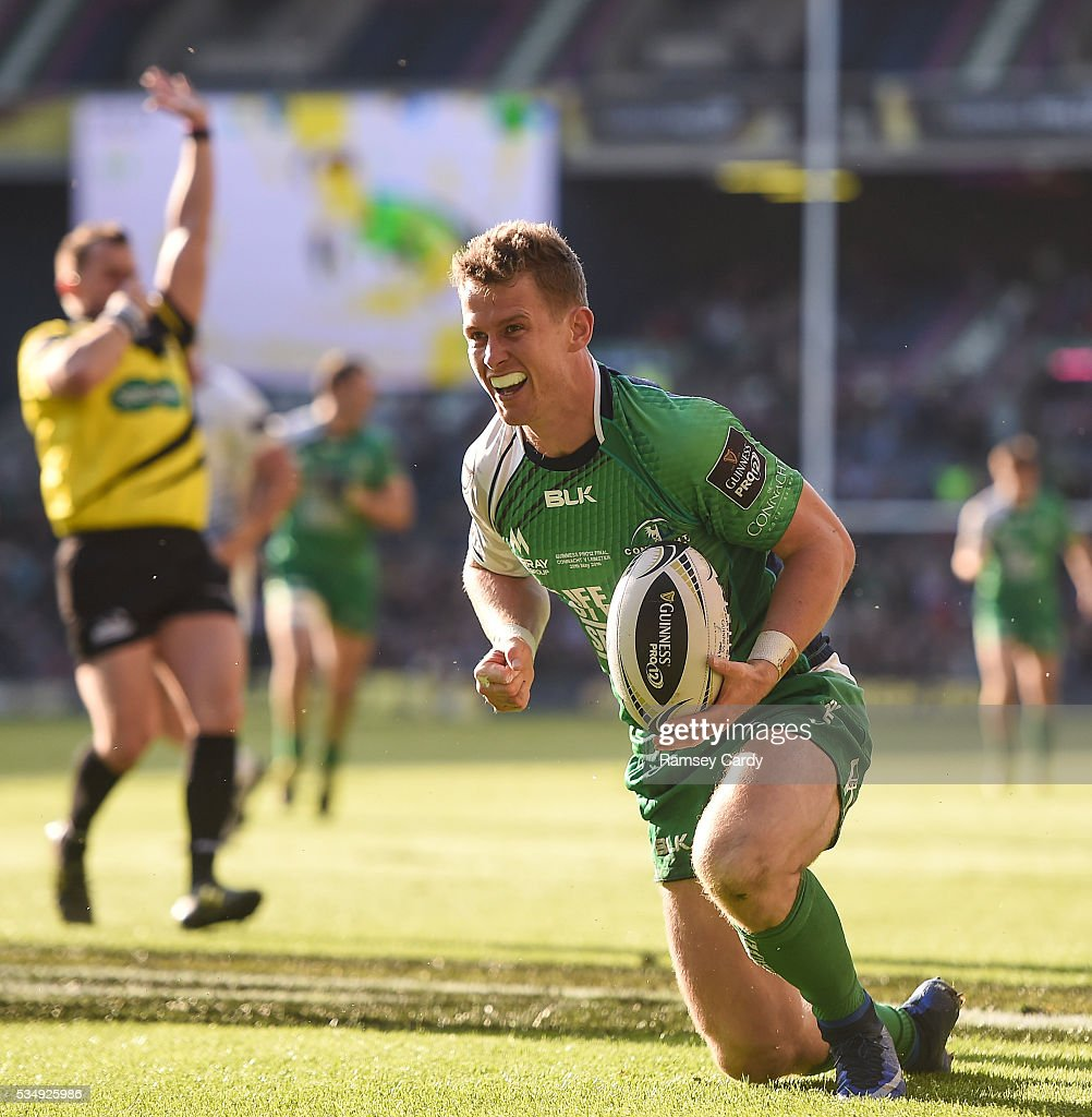 Edinburgh , United Kingdom - 28 May 2016; Matt Healy of Connacht celebrates after scoring his side's third try of the game during the Guinness PRO12 Final match between Leinster and Connacht at BT Murrayfield Stadium in Edinburgh, Scotland.