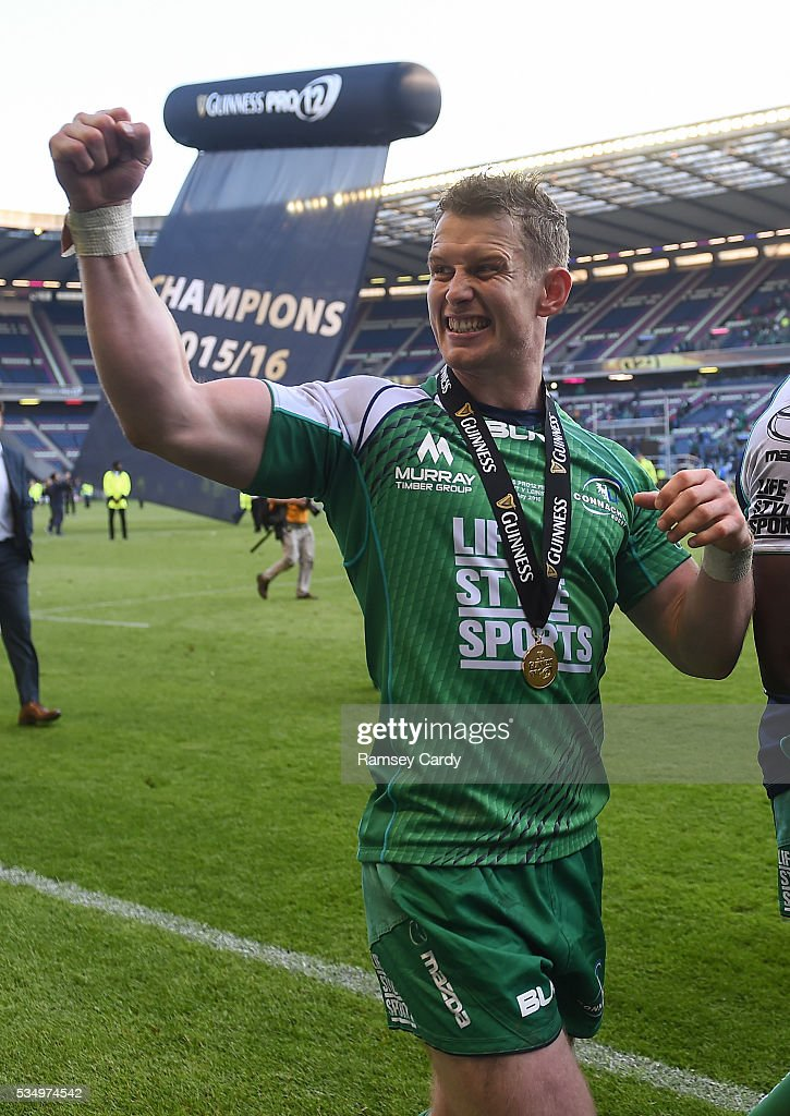Edinburgh , United Kingdom - 28 May 2016; Matt Healy of Connacht celebrates following his side's victory in the Guinness PRO12 Final match between Leinster and Connacht at BT Murrayfield Stadium in Edinburgh, Scotland.