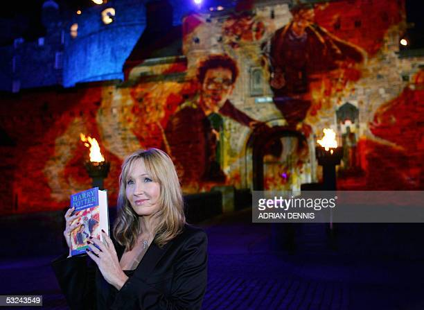 Author JK Rowling stands in front of Edinburgh Castle for the worldwide launch of the latest book Harry Potter and the HalfBlood Prince at Edinburgh...