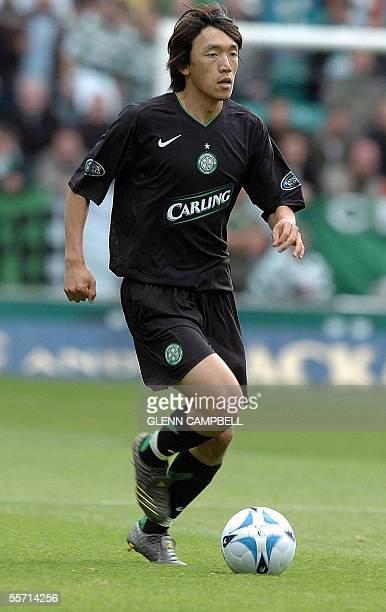 Glasgow Celtic's Shunsuke Nakamura runs with the ball during his match against the Scottish Premiership opposing Hibernian to the Glasgow Celtic 18...