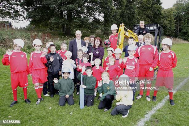 Edinburgh winger Andrew Turnbull and Stewart Harris CEO SportsScotland with Edinburgh councillor Deidre Brock and children from Lismore RFC and...