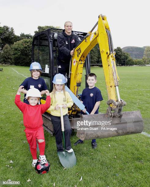 Edinburgh winger Andrew Turnbull with children from Lismore RFC and Edinburgh South FC and Edinburgh Cricket Club during the launch of construction...