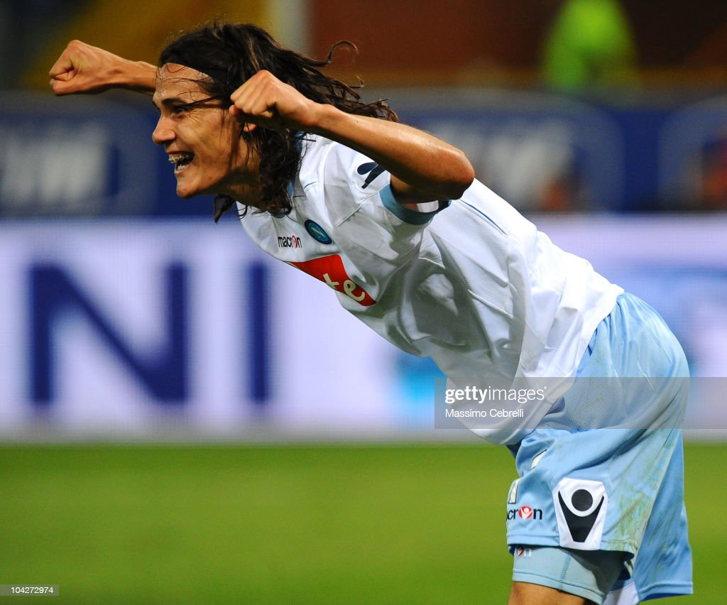 Edindon Cavani of SSC Napoli celebrates scoring his team's second goal during the Serie A match between UC Sampdoria and SSC Napoli at Stadio Luigi Ferraris on September 19, 2010 in Genoa, Italy.