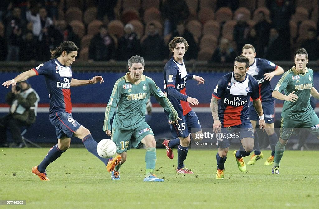 Edinson Cavani, Adrien Rabiot and Ezequiel Lavezzi of Paris Saint-Germain and Fabien Lemoine of Saint-Etienne ASSE during the French Ligue Cup between Paris Saint-Germain FC and Saint-Etienne ASSE at Parc Des Princes on december 18, 2013 in Paris, France.