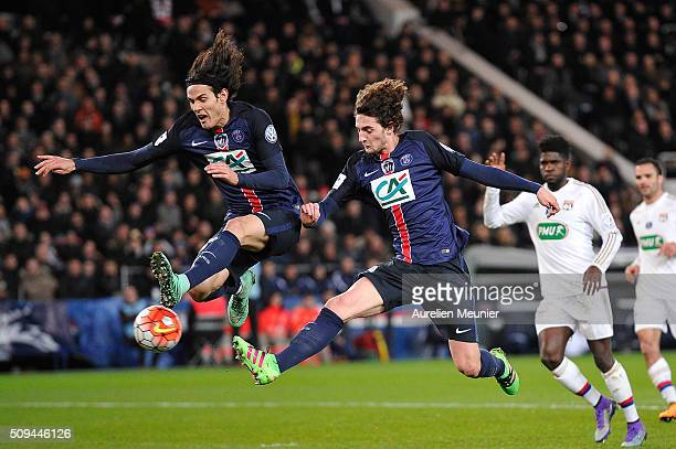 Edinson Cavani and Adrien Rabiot of Paris SaintGermain in action as Adrien Rabiot of PAris SaintGermain scores during the French Cup game between the...