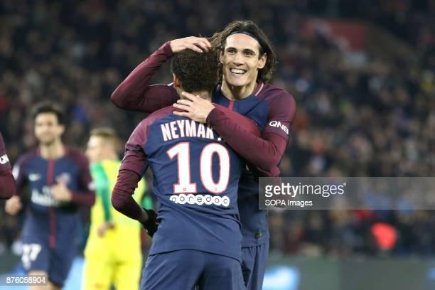 Edinson Cavani and Neymar Jr during the French Ligue 1 soccer match between Paris Saint Germain and FC Nantes at Parc des Princes