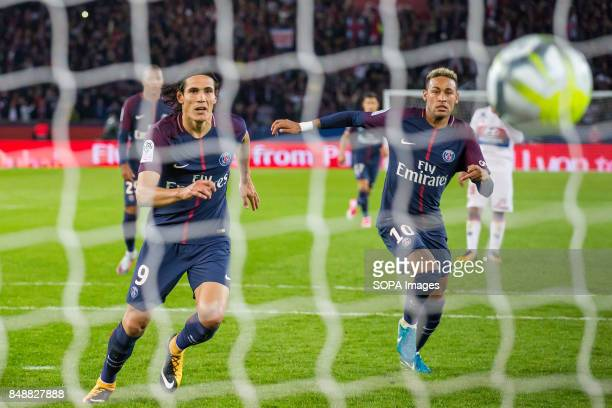 Edinson Cavani and Neymar Jr in action during the French Ligue 1 soccer match between Paris Saint Germain and Olympique Lyonnais at Parc des Princes...