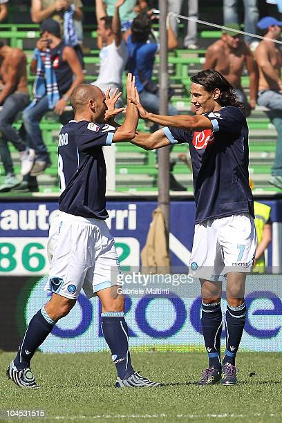 Edinson Cavani and Paolo Cannavaro of SSC Napoli celebrates after scoring a goal during the Serie A match between Cesena and Napoli at Dino Manuzzi...