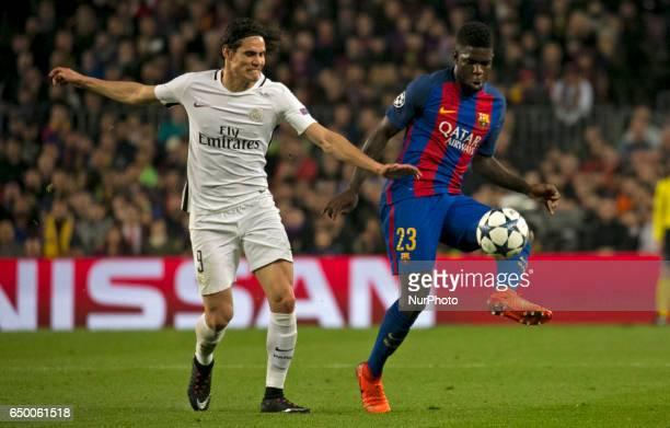 Edinson Cavani and Samuel Umtiti during UEFA Champions League match between FC Barcelona v PSG in Barcelona on march 08 2017