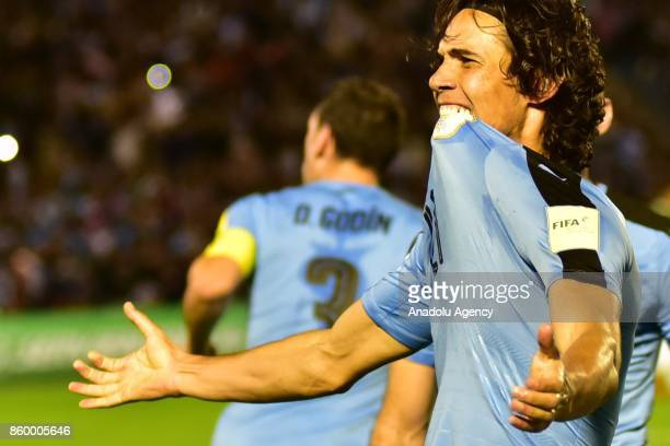 Edinson Cavani celebrates after scoring during the 2018 FIFA World Cup Qualification match between Uruguay and Bolivia at Centenario Stadium in...