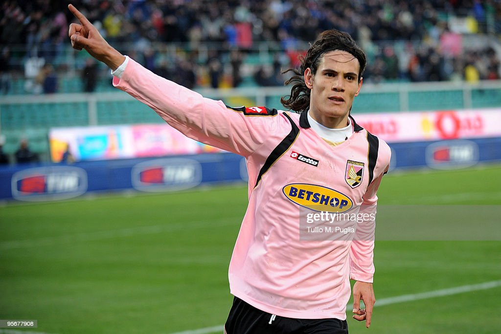 Edinson Cavani celebrates after scoring the 10 goal from a penalty during the Serie A match between Palermo and Atalanta at Stadio Renzo Barbera on...