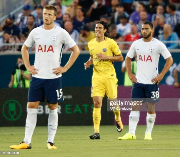 Edinson Cavani f Paris SaintGermain reacts after scoring a goal against the Tottenham Hotspur during their international friendly match on July 22...