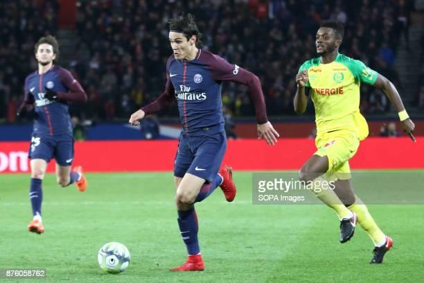 Edinson Cavani in action during the French Ligue 1 soccer match between Paris Saint Germain and FC Nantes at Parc des Princes