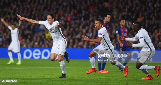 Edinson Cavani of Edinson Cavani of PSG celebrates as he scores their first goal during the UEFA Champions League Round of 16 second leg match...