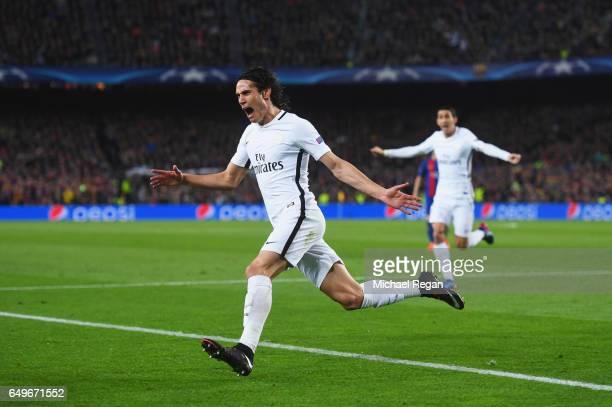 Edinson Cavani of Edinson Cavani of PSG celebrates as he scores their first goal during the UEFA Champions League Round of 16 second leg match...