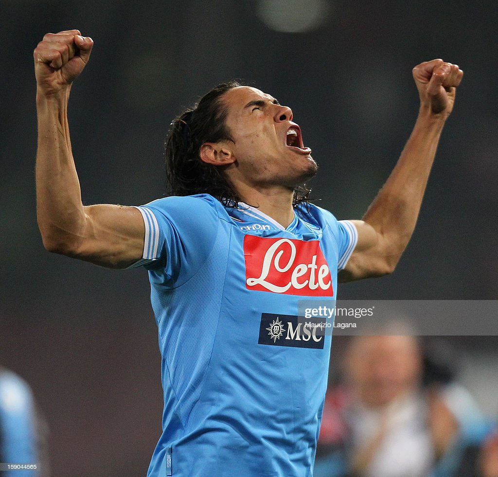 <a gi-track='captionPersonalityLinkClicked' href=/galleries/search?phrase=Edinson+Cavani&family=editorial&specificpeople=4104253 ng-click='$event.stopPropagation()'>Edinson Cavani</a> of Napoli celebrates afetr scoring the opening goal during the Serie A match between SSC Napoli and AS Roma at Stadio San Paolo on January 6, 2013 in Naples, Italy.