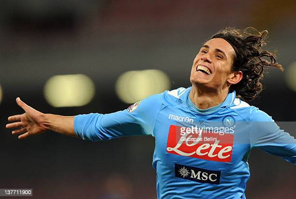 Edinson Cavani of Napoli celebrates after scoring the 20 goal during the Tim Cup match between SSC Napoli and FC Internazionale Milano at Stadio San...