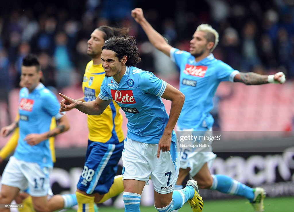 Edinson Cavani of Napoli celebrates after scoring the 3-1 goal during the Serie A match between SSC Napoli and Pescara Calcio at Stadio San Paolo on December 2, 2012 in Naples, Italy.