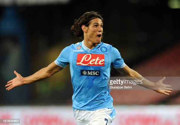 Edinson Cavani of Napoli celebrates after scoring the goal 30 during the Serie A match between SSC Napoli and SS Lazio at Stadio San Paolo on...