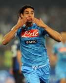 Edinson Cavani of Napoli celebrates after scoring the opening goal during the Serie A match between SSC Napoli and FC Internazionale Milano at Stadio...